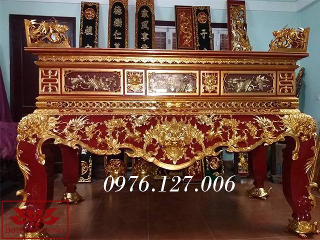 sập thờ gỗ mít đẹp sơn son thếp vàng ms 03