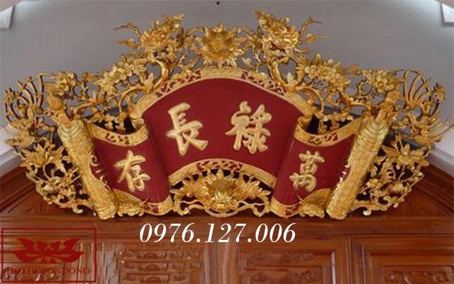 cuốn thư gỗ mít sơn son thếp vàng ms02