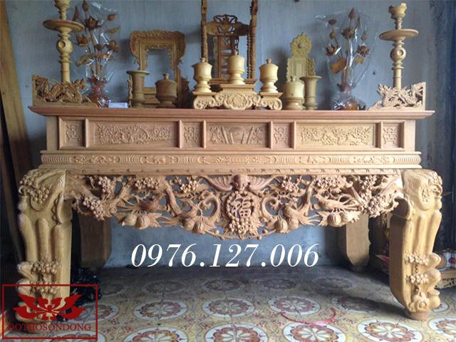 mẫu bàn thờ đẹp - sập thờ chạm mai ngũ phúc gỗ mít ms 20