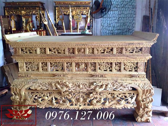Mẫu sập thờ gỗ mít đẹp 2 dạ chân vuông 25cm mã số 21