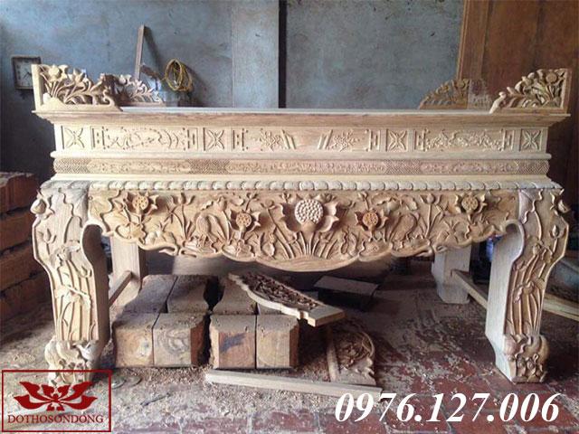 sập thờ gỗ gụ chạm sen ms 32