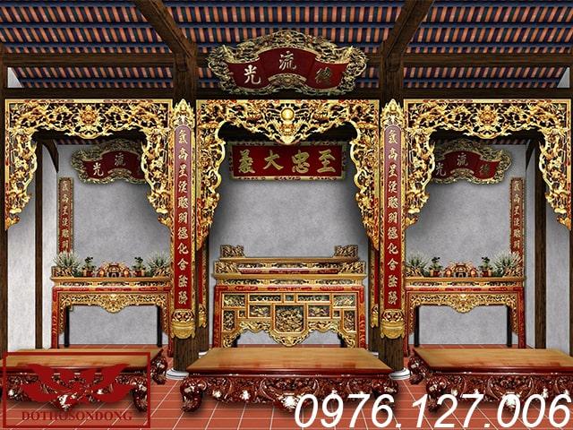 mẫu thiết kế nội thất nhà thờ họ 3 gian ms04